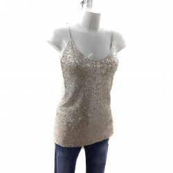 TOP PAILLETTES CHAMPAGNE E JEANS SKINNY