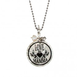 COLLANA CATENA PALLINE CIONDOLO LOVE MAMMA